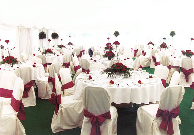 Red and white themed wedding marquee